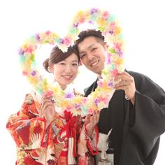 ウエディングフォト群馬伊勢崎和装婚礼k自然光ハートラブラブ