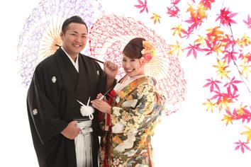 ウエディングフォト群馬伊勢崎和装婚礼y自然光傘