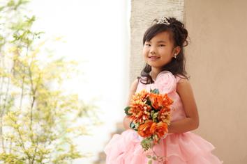 七五三群馬伊勢崎前撮7歳あすみちゃん洋装ドレス外ガーデン