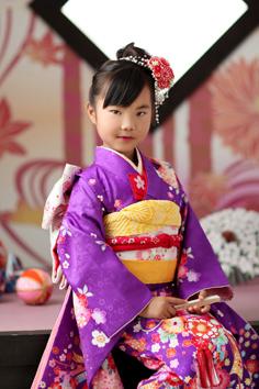 七五三群馬伊勢崎前撮7歳あすみちゃん和装飾り持込み