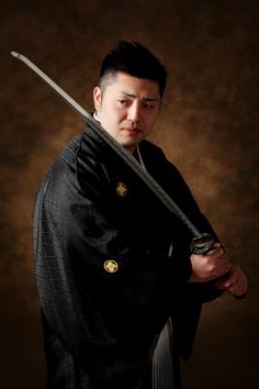 成人式写真男子羽織袴群馬伊勢崎s刀