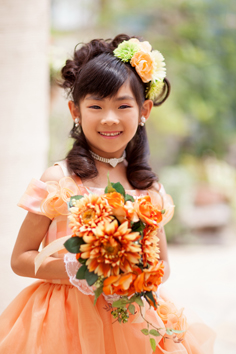 七五三群馬伊勢崎前撮7歳あやかちゃん洋装ドレス外ロケガーデン