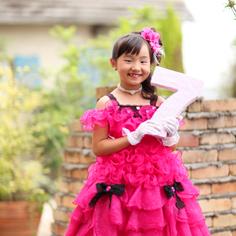 七五三群馬伊勢崎前撮7歳れいらちゃん洋装ドレス外ロケーションガーデン