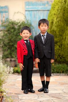 七五三群馬伊勢崎前撮り5歳いく君洋装兄弟外ロケーションガーデン