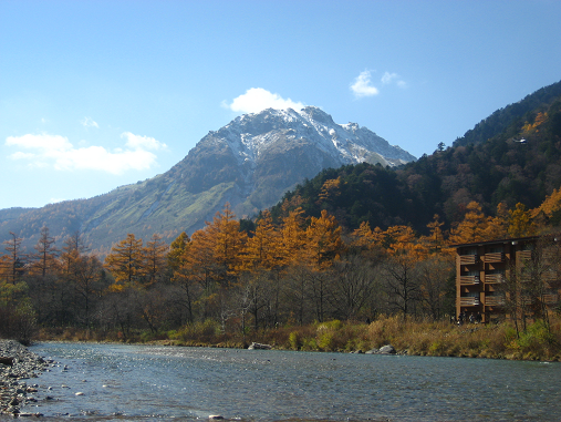 焼岳とホテル