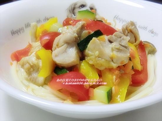 ごろごろチキンと彩り野菜のスープパスタ♪