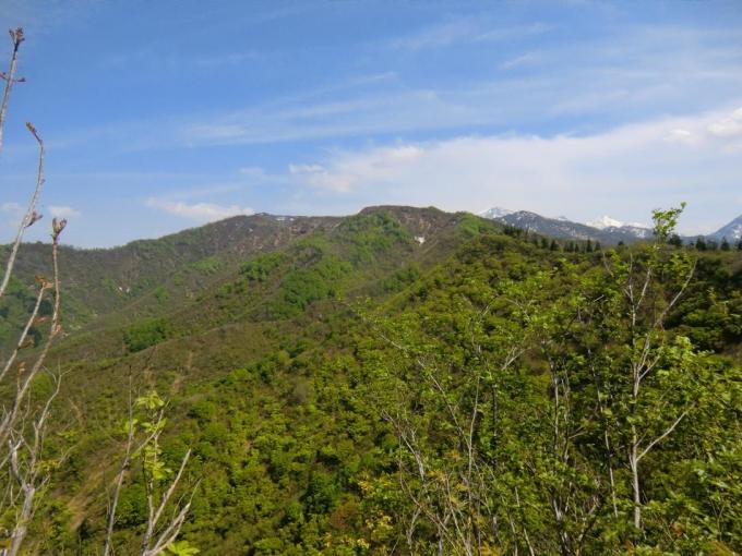 大力山から振り返り歩いてきた稜線