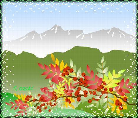 秋の山.jワード絵