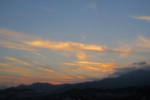 大山の夕焼け雲