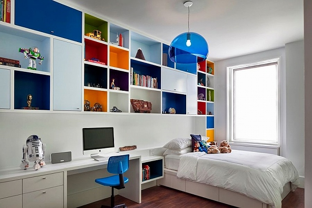 Boys-bedroom-with-multi-colored-shelves-and-FLY-Suspension-Light-in-Blue.jpg