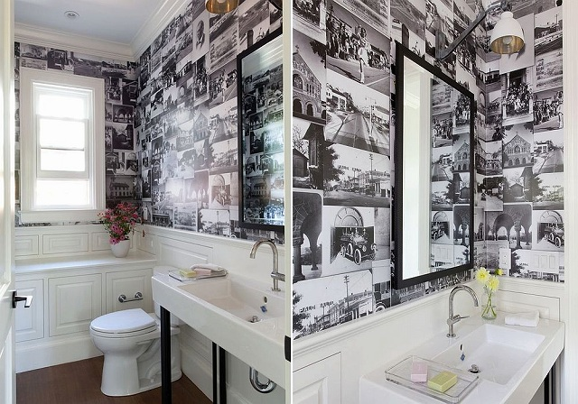 Collage-of-black-and-white-photographs-for-the-small-powder-room.jpg