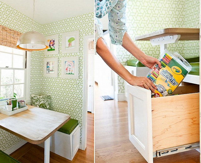 Small-kitchen-nook-transformed-with-wallpaper-and-banquette-with-built-in-storage.jpg