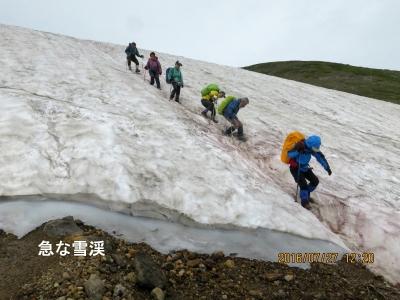 北鎮岳分岐より下りの雪渓