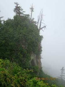 下台倉山付近の急峻な崖