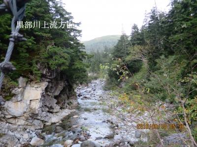 黒部川下流(左から薬師沢が合流)