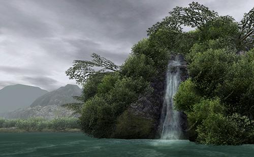 主水路から見える滝