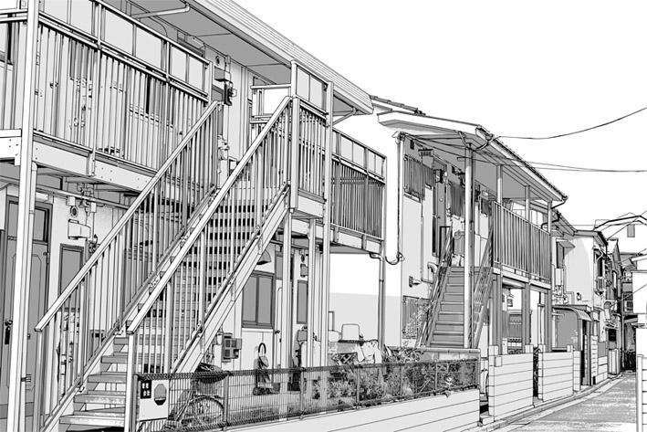 写真加工・漫画背景・アパート006
