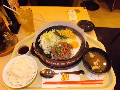 ペッパーランチ 牛焼肉&目玉焼き定食