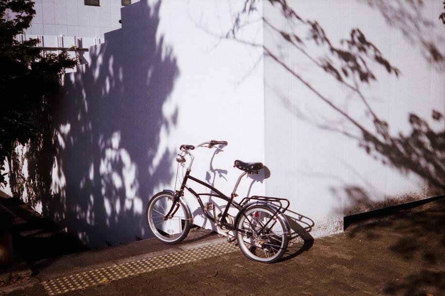 自転車と影