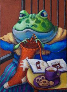 11靴下編む蛙