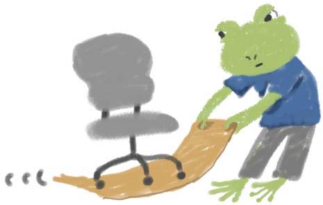 椅子引くカエル