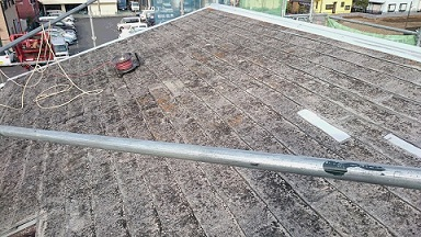 平山邸 金属瓦 (施工前屋根材完全に剥がれている常態)編集