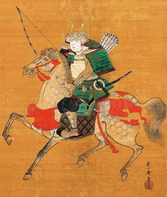 狩野安信筆「平敦盛像」部分(江戸時代、寛文元年(1661)