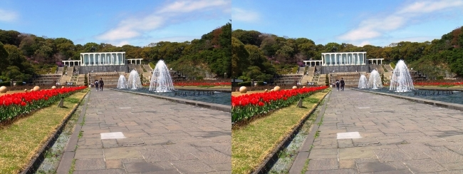 須磨離宮公園 噴水広場 キャナル小噴水③(平行法)