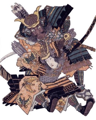「無官の太夫敦盛 熊谷次郎直実組討の図」歌川豊国画