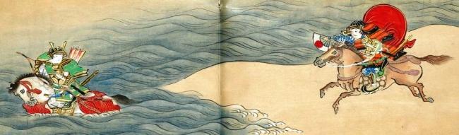 対峙する平敦盛と熊谷直実の出で立ち