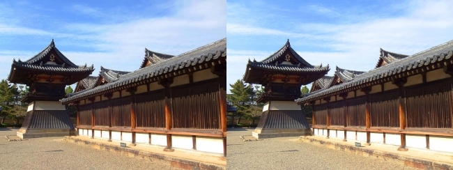 法隆寺 東院伽藍 鐘楼①(平行法)