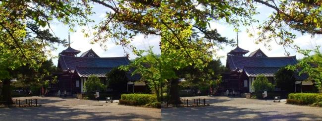 法隆寺 五重塔と聖霊院(平行法)