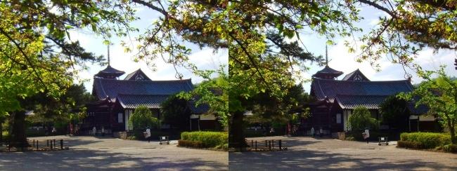 法隆寺 五重塔と聖霊院(交差法)