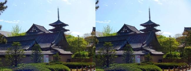 法隆寺 五重塔と金堂④(交差法)