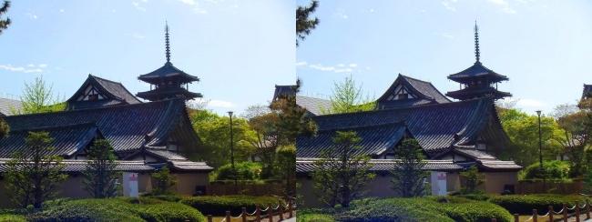 法隆寺 五重塔と金堂④(平行法)