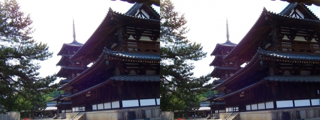 法隆寺 五重塔と金堂③(交差法)