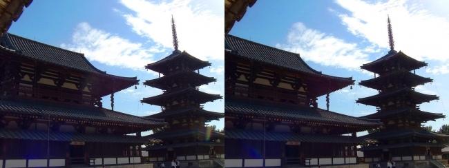 法隆寺 五重塔と金堂②(交差法)