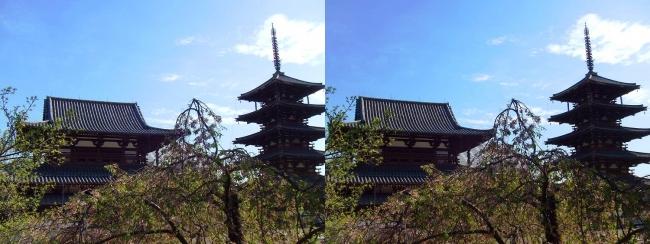 法隆寺 五重塔と金堂①(交差法)