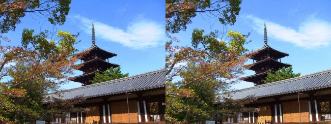 法隆寺 西院伽藍と五重塔③(平行法)