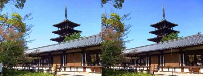 法隆寺 西院伽藍と五重塔②(交差法)