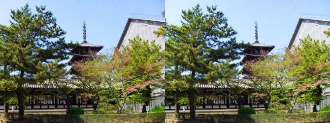 法隆寺 西院伽藍と五重塔①(平行法)