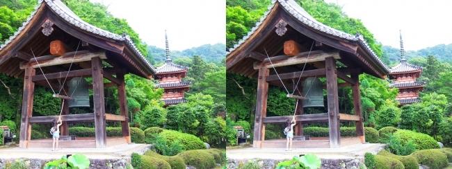 三室戸寺 鐘楼 三重塔(平行法)