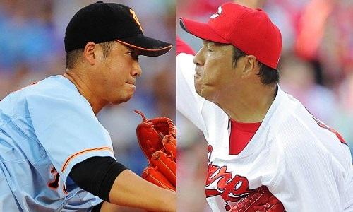 広島-巨人 2016.8.6 先発投手 黒田・大竹