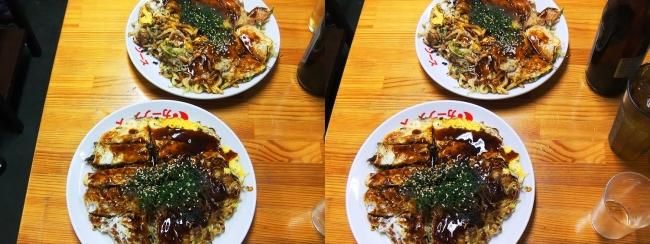 お好み焼き「よっちゃん」スペシャルうどん・牡蠣入りそば(平行法)