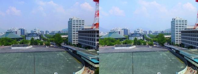 おりづるタワー スパイラルスロープ眺望 旧広島市民球場跡地(平行法)