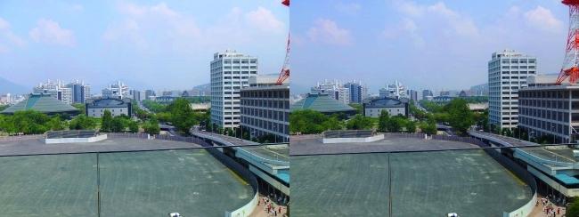 おりづるタワー スパイラルスロープ眺望 旧広島市民球場跡地(交差法)