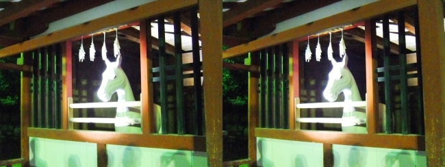 嚴島神社 夜のガイドウォーキング 神馬の馬小屋(平行法)