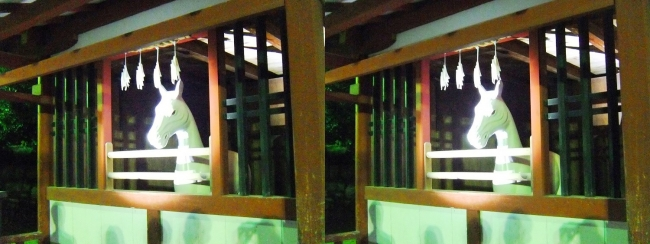 嚴島神社 夜のガイドウォーキング 神馬の馬小屋(交差法)