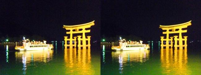 嚴島神社 夜のガイドウォーキング 大鳥居②(交差法)