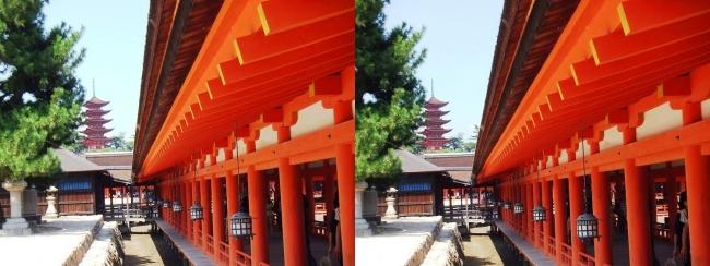 嚴島神社 西回廊 五重塔(交差法)